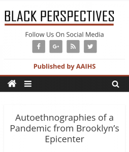 Autoethnographies of a Pandemic from Brooklyn's Epicenter, Students Share COVID Experiences