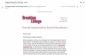 Anti-Racist Implementation Team Sends Update Email